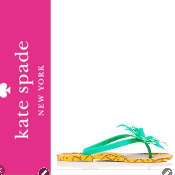 b966afbcfcc0 NWT Kate Spade ♤ Pineapple Flip Flops